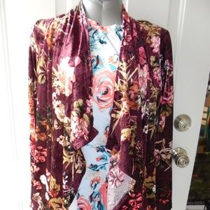 Women's Floral Crush Velvet Cardigan Burgundy NEW
